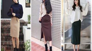 Cách phối áo thun với chân váy len dạo phố ngày đông vừa ấm áp, vừa thời thượng