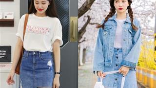Bí kíp phối đồ với chân váy jean và áo thun